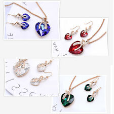 Wedding Gold Filled Heart Necklace hook dangle Earring Fashion Jewelry Sets