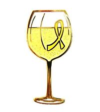 Yellow Awareness Ribbon Pin Tac White Wine Tasting Cancer Cause Glass Goblet New