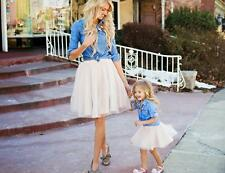 Mother and Daughter Casual Denim T-shirt Skirt Tulle Dress Matching Outfits Set