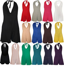 New Womens Halter Neck Backless Ladies Shorts Sleeveless Playsuit Jumpsuit 8-14