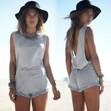 Tassel Womens Jumpsuit Sexy Beach Backless Rompers Summer Playsuit Short Pant