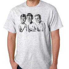 Star Trek Kirk Spock Bones Enterprise Science Fiction TV Ash Gray Shirt