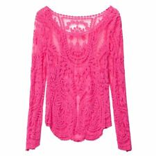 Women Pink Color Lace Decorated Casual Round Collar Long Sleeve Blouse