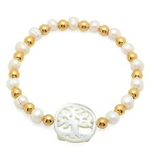 STEELTIME Women's Stainless Steel Freshwater Pearl Beaded Bracelet with Mother o