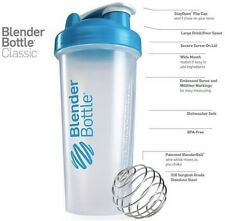 Blender Bottle Wire Ball Mixer Shaker Protein 28 Oz Classic Loop Top Clear/Blue