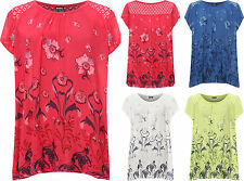Plus Womens Lace Back T-Shirt Top Ladies Floral Print Cap Sleeve Butterfly Print