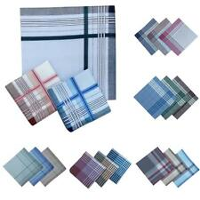 12 Pcs Mens Color Strips Cotton Pocket Square Hanky Handkerchiefs