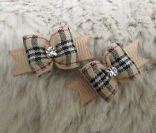 "Mo's USA Dog Bows -3/8"" tiny dog bow xx-small -designer plaid- Maltese/ Yorkie+"