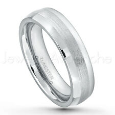 6mm Polished & Brushed Comfort Fit Dome Tungsten Carbide Wedding Band TN006