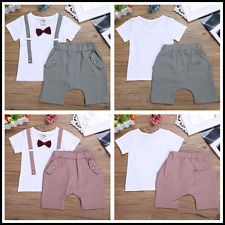 Gentleman Baby Boys Short Sleeve Summer Bowknot T-shirt +Short Pants Outfit Set