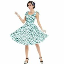 Women Summer Vintage Green White Color Sleeveless New Style Flower Dress