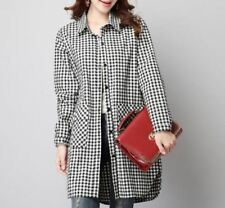 Fashion Long Sleeved Plaid Pattern Linen And Cotton Long Shirt For Women ABI313