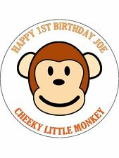 30-90 EDIBLE WAFER CUP CAKE TOPPERS PERSONALISED CHEEKY MONKEY ANY NAME UNCUT
