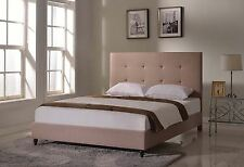 King Queen Twin Full Size Platform Bed Frame Brown Upholstered Headboard Slats