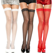 Sheer Lace Support Top Fishnet Thigh Highs Hi Stockings Burlesque Bridal Boudoir