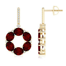 Oval Garnet Circle Dangle Earrings And Diamond Accents 14K Yellow Gold/ScrewBack