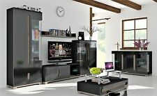 Berlin High Gloss Black Sideboard Display Cabinet TV Stand Unit Lounge Furniture