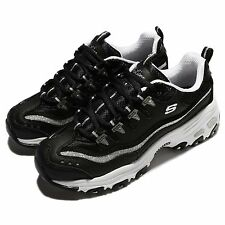 Skechers DLites Now Then Black Silver Women Casual Shoes Sneakers 11923-BKSL