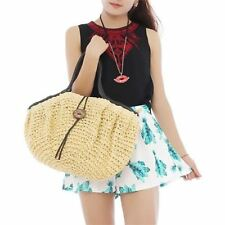 1pc Women Straw Material Large Capacity Button Beach Shoulder Bag ABB1861