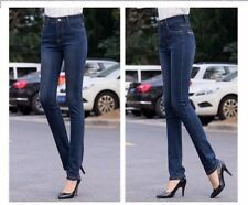 Fashion High Waist Fully Stretch Straight Plus Size Denim Jeans for Women ABN772