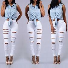 Womens Hole Destroyed Ripped Distressed Slim Denim Pants Jeans Trousers