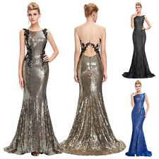 Luxury Sequins Long Mermaid Dress Evening Party Cocktail Wedding Prom Gown Dress