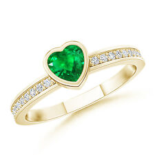 Bezel Heart Emerald Promise Ring with Diamond Accents 14K Yellow Gold/ Size 3-13