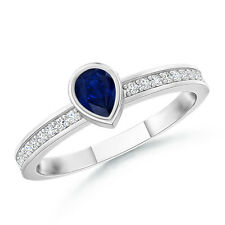 Bezel Pear Sapphire Stackable Ring And Diamond 14K White Gold/Platinum Size 3-13