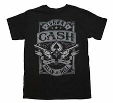 Johnny Cash Mean as Hell T-Shirt Outlaw Country Music Band Cotton Black Tee