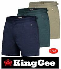 PACK OF 4 KING GEE MENS DRILL- SHORT LEG- UTILITY WORK SHORTS + SIDE TAB K07010