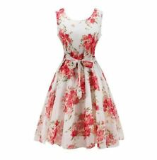 Women Fashion Floral Printed Chiffon Fabric O-neck Sleeveless Mini Dress