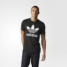 NEW MEN'S ADIDAS ORIGINALS TREFOIL TEE [AJ8830]  BLACK // WHITE