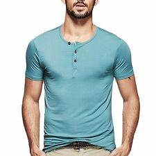 Mens  Casual Henley T-shirt Viscose Soft Solid Basic Tee 5 Colors M~2XL Fine!!