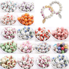 10/20X Round Porcelain Loose Charm Spacer Bead Jewelry For Necklace Bracelet DIY