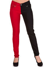 Banned Rockabilly Goth Punk Skinny Fit Pants 26 28 30 32 34 Half Black Half Red