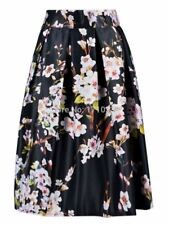 Summer Floral Printed High Waist Vintage Pleated Solid Color Skirt For Women