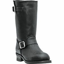 Dingo Mens Black Leather Rob 11in Harness Engineer Toe Cowboy Boots