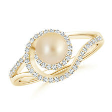 6MM Golden Japanese Cultured Pearl Engagement Ring with Diamond Accents 14k Gold