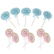 10pcs Happy Birthday Cupcake Picks Cake Toppers Baby Shower Party Decor