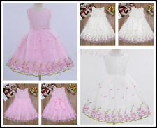 Flower Girls Birthday Party Lace Bow Princess Pageant Wedding Fancy Prom Dress