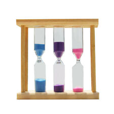 Three In One Wooden Sandglass Hourglass Sand Clock Timer Home Desk Table Decor