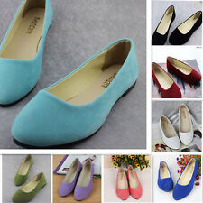 Women's Casual Flats Ballet Shoes Suede Ballerina Loafers Slip On Comfortable