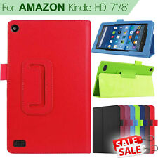 """Folio Leather Case kickstand Cover case For Amazon Kindle Fire HD 7"""" / 8"""" Tablet"""