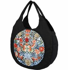 Women Canvas Handbag Shoulder Bag Embroidery Ethnic Style Round Tote New Fashion