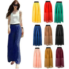 1 pcs Skirt Pleated Elastic Waist Double Layer Chiffon Retro Long Dress Women