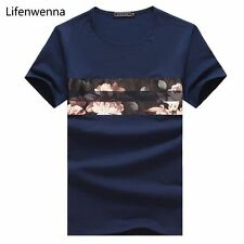 New Summer Fashion T Shirt Casual Patchwork Short Sleeve Slim Fit Tees