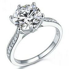 3 Ct Round Brilliant Cut Diamond Created Engagement Bridal Sterling Silver Ring