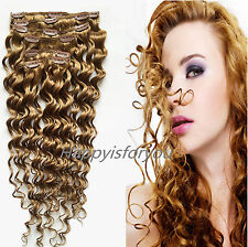 10pcs 100g Set Deep wave/Curly hair Clip in Real Remy 100% Human Hair Extension