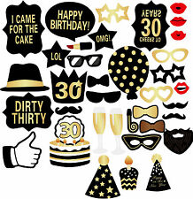 36PCS 30th Birthday Party Decor Graphix DIY Photo Booth Props Photo Booth S