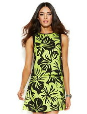 NWT MICHAEL KORS Paradise Orchid Floral Grommet-Trim Top / Flared Skirt Pear